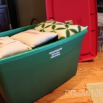 Using larger bins for lightweight bulky items like pillows