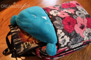 I keep my Lug Life Undercover Bear travel pillow & an small reusable shopping bag in case I purchase snacks in the front slip pocket.