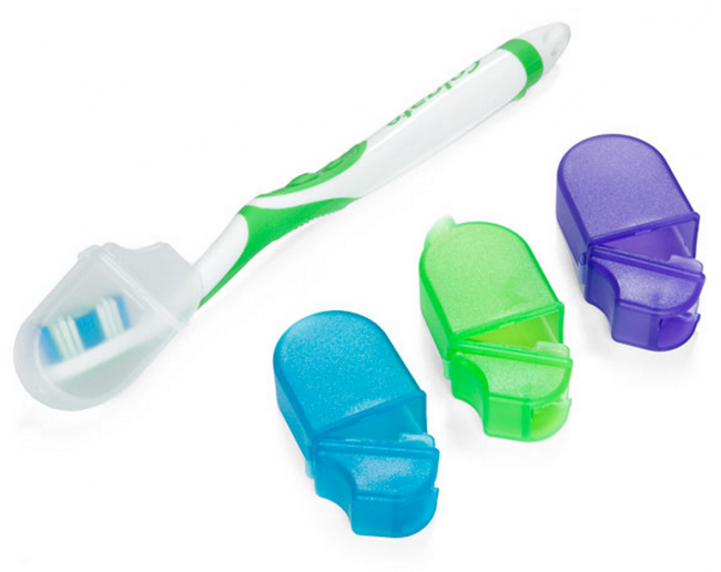 Toothbrush Covers with Microban from The Container Store (photo source)