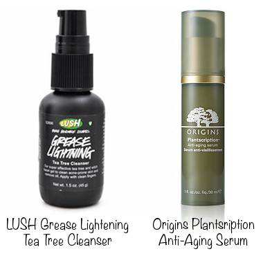 Lush Grease Lightning Tea Tree Cleanser (photo source) &amp; Origins Plantscription Anti-Aging Serum (photo source)