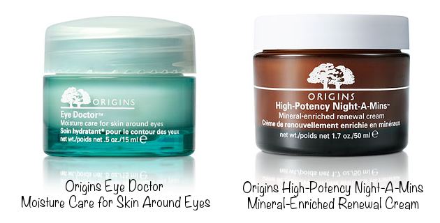 Origins Eye Doctor Moisture Care for Skin Around Eyes (photo source) & Origins High-Potency Night-A-Mins Mineral-Enriched Renewal Cream (photo source)
