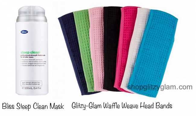 Bliss Steep Clean Mask (photo source) & Glitzy-Glam Waffle Weave Head Band (photo source)