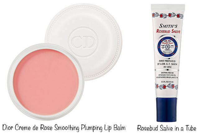 Dior Creme de Rose Smoothing Plumping Lip Balm (photo source) & Rosebud Salve In A Tube (photo source)
