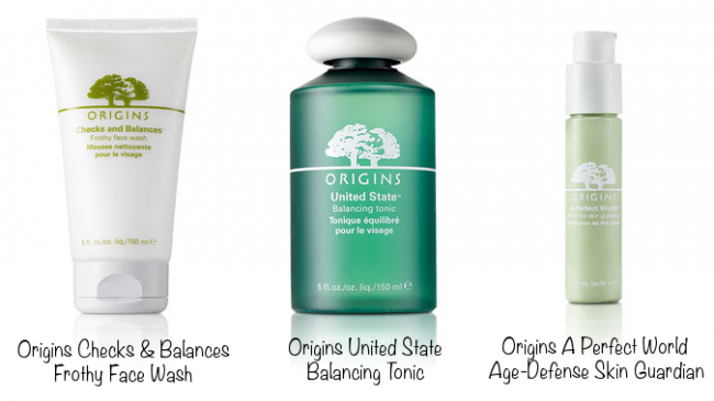 Origins Checks & Balances Frothy Face Wash (photo source), Origins United State Balancing Tonic (photo source), Origins A Perfect World Age-Defense Skin Guardian (photo source)