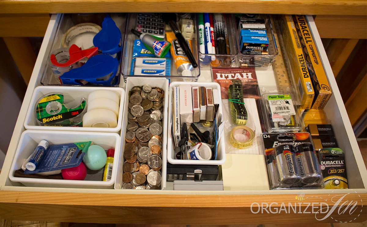 Organized kitchen cabinets organizing your kitchen - Kitchen Desk Junk Drawer Organization Kitchen Series 2013